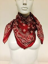 "extra large silky red & White paisley multiway bandana scarf, XL 32""x32"" Square"