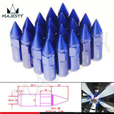 20pcs Spiked Extended Tuner 60mm Lug Nuts Wheels / Rims M12X1.25 Aluminum Blue