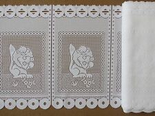 "White net lace readymade cafe curtain 45cm drop (18"") eyelet top Price Per mtr"