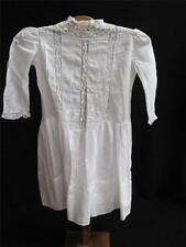 ANTIQUE EDWARDIAN EMBROIDERED & VALENCIENNES LACE DROP WAISTED GIRLS DRESS c1910
