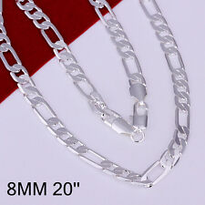 925Sterling Silver 8MM Flat 3 Spaced 1 Gentle Men Chain Necklace 20inch N018