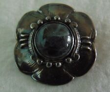 Vintage or Antique Silver Plated Brooch /Pin  Flower Stone Center
