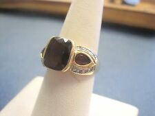 Lovely solid 10k Yellow Gold Vintage garnet & Diamond Ring sz6.75 ladies LQQK