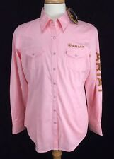 Ariat Western Long Sleeve Snap Button Shirt Womens Size Large Pink New with Tags