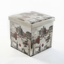 LONDON ATTRACTIONS Folding STORAGE BOX SEAT Foot Stool Cube Ottoman Home Office