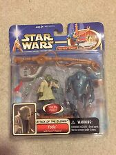Star Wars Attack of the Clones Yoda with Force Power Deluxe Action Figure Hasbro
