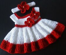 Handmade Crochet Dress Red and White Baby Girl 0-3 Months Infant Baby  Headband