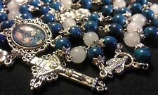 GORGEOUS DAINTY DEEP TURQUOISE COLOR NATURAL STONE ROSARY, FOSSIL STONE & QUARTZ