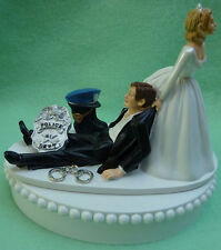Wedding Cake Topper Policeman Themed Police Officer Handcuffs Badge Boot Groom's
