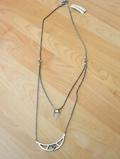 Lucky Brand Silvertone Double Layer  Crystal Charm Necklace MSRP $49