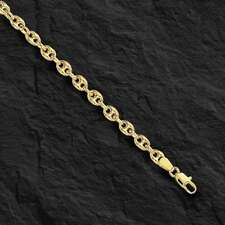 "14k Yellow Gold Puffed Anchor  Mariner 7"" link bracelet 4.7 MM 3.5 grams"