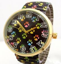 Paw Print Wrist Watch Dog Cat Colorful Footprints Quartz Fun Stretch Band