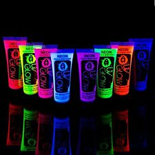 Face and Body Paint Set UV Glow Blacklight Neon Fluorescent Colors 8 Tubes NEW