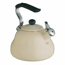 New Le'Xpress 2L Cream / Ivory Enamel Gas Stove Top Whistling Kettle - KCEKETCRE