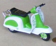 Green & White Plastic & Metal Scooter Dolls House Miniature Garden Accessory