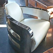 "30"" W Beautiful chair soft Italian white top grain leather stainless steel frame"