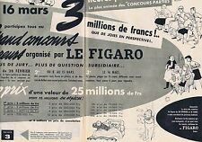 PUBLICITE ADVERTISING 045 1956 LE FIGARO le grand concours (2 pages)