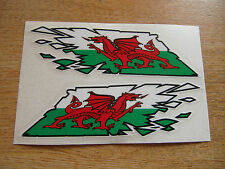"Welsh Dragon Flag ""ripped"" style stickers - 150mm decals x2  - Wales"