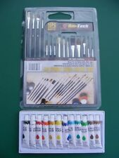 15pc Artist's Brushes + 12 Tubes Acrylic Paint Brush Set Art