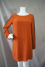 Boundary Orange Silk Tunic Dress with Sheepskin Leather Accents Size M