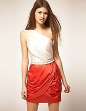 Stunning Lipsy One Shoulder Nude Coral Embellished Evening Occasion Dress 12