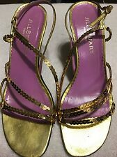 JILL Stuart leather Ladies 7 M SANDALS . Sequin Strap HEELS SHOES Italy.