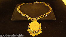 Exceptional signed PAULINE RADER Massive chunky Couture Coin Runway Necklace