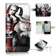 iPhone 4 4S Flip Wallet Case Cover! S8600 Harley Quinn