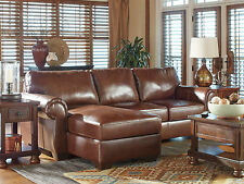 PALACE - Traditional Brown Real Leather Living Room Couch Sofa Sectional Set New