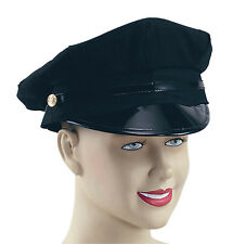 Peaked Hat Black Fancy Dress Adult POLICE HAT BLACK UNIFORM ACCESSORY