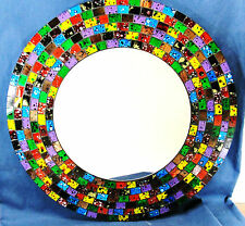 "Mirror hand made Mosaic Glass 16"" wall mount ""Confetti"" Home Decor (916)"
