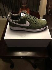 Nike Air Force 1 Mens 820266-301 Cargo Khaki White Leather Low Shoes Size 11