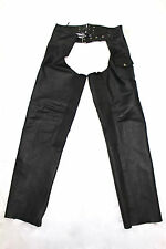 GUIDE GEAR Black Leather Riding Motorcycle Chaps Belted Buckle Pants Mens L