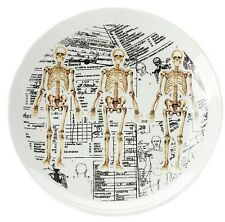 SOURPUSS ANATOMICAL SKELETON WHITE CERAMIC PLATE. ANATOMY. MEDICINE. HORROR.