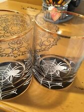 Tabla Home Spider Web Halloween On-The-Rocks Drinking Glasses  NWT!  Set of 2