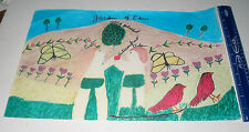 LP16 (P6) Excellent Outsider Folk Artist Garden of Eden Drawing Hazel Kinney