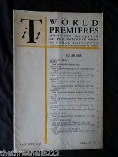 INTERNATIONAL THEATRE INSTITUTE WORLD PREMIER - OCT 1951 VOL 3 #1