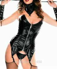 Faux Leather Waist Corset with Suspender,Neck Collar and Gloves Fetish Wear