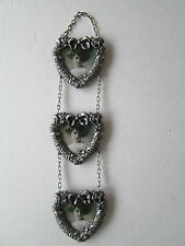 Victorian Design Pewter Photo Frames Hanging Hearts for 2 x 2 Inch