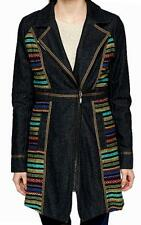 NEW long black embroidered patchwork coat jacket-14 boho hippie evening ethnic