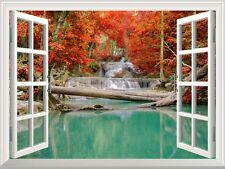 """Wall Mural - Waterfall in Deep Forest in Autumn  Wall Decor - 36""""x48"""""""