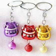 Japanese Fengshui Lucky Bell Cute Cats Keyring Keychain Key Ring Chain Gift 1pc