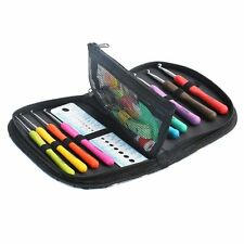 12PCS Set Soft Handle Needles Knit Weave Craft Yarn Aluminum Crochet Hooks+ Case