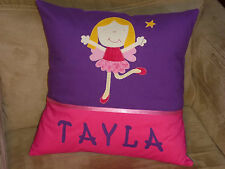 CHILD'S/GIRS PERSONALISED NAME CUSHION COVER/NURSERY/SHOWER/GIFT - FAIRY -