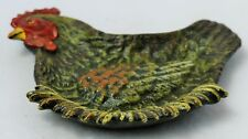 Vintage Styled Cast Iron Painted Farm Hen Ashtray Coin Dish Unique Metal Tray Ch