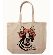 Cotton On frenchie flower boston terry dog beige tote eco reusable shopping bag