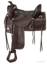 17.5 Inch Western Old Time Trail Saddle - Square Skirt - Dark Oil Leather