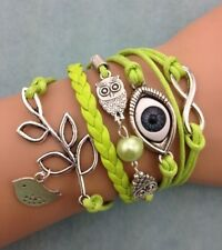 NEW Pearl Infinity Owl Tree leaf Eye Leather Charm Bracelet plated Silver DIY