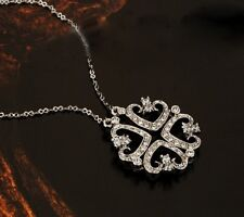 18K White Gold GP Crystal CZ Zircon  Four Linked Heart Pendant Necklace N346b