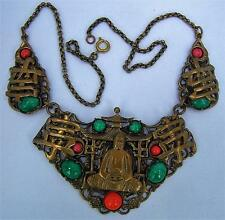 Vintage Czech Bohemian Neiger style Buddha  necklace brass, jade and coral glass